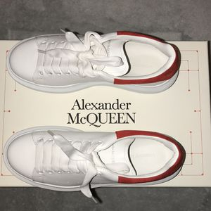 Alexander McQueen women's size 8. White & Red Oversized Sneakers. Round toe. Suede heel tab in back featuring logo stamped in gold-tone. for Sale in North Miami Beach, FL