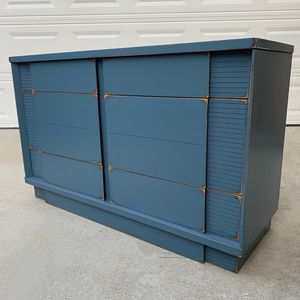 Awesome blue shabby distressed solid wood six drawer dresser for Sale in San Diego, CA