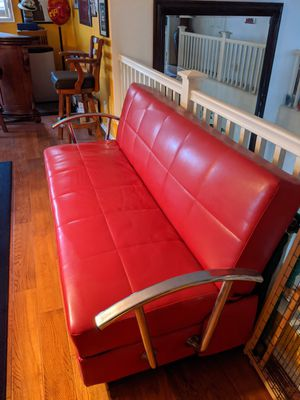 Red leather convertible futon for Sale in Norco, CA