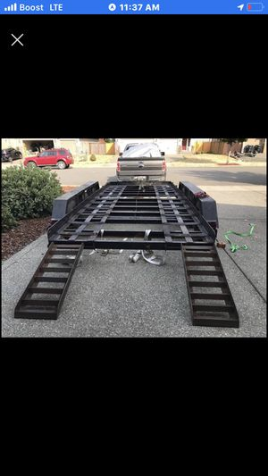 Heavy duty car trailer with trailer lights and brakes freshly packed bearings triple axle with winch for Sale in Portland, OR