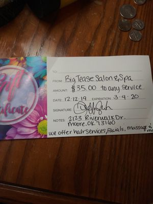 Gift certificate for Sale in Moore, OK