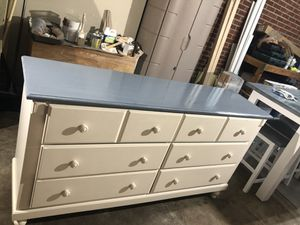 Six drawer dresser just restained. W/glass for Sale in Gulf Breeze, FL