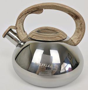 New Poliviar Tea Kettle 2.1 Quart Mirror Silver with Wood Pattern (Tarpon Springs) for Sale in Tarpon Springs, FL