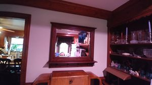 Solid wood beveled mirror w/shelf and pegs; $50 for Sale in Chesapeake, VA