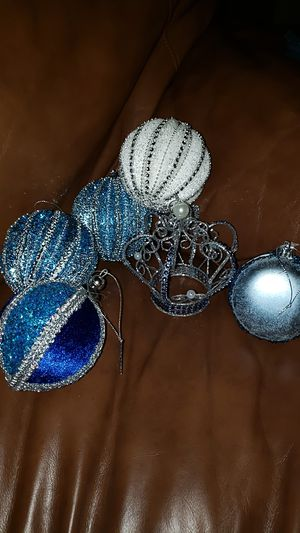 Christmas Blue Christmas Ornament Lot, Velvet Jeweled for Sale in Bakersfield, CA