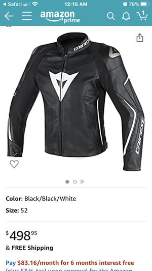Leather motorcycle jacket. Dianese for Sale in Loganville, GA