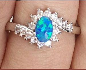 Sz 9 Genuine Blue Opal and Topaz Ring for Sale in Vancouver, WA