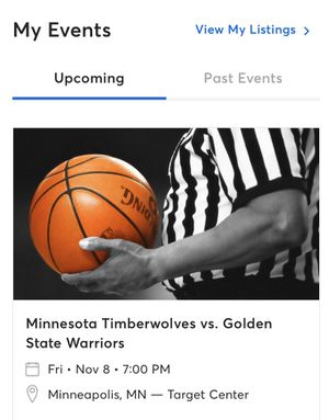 4 Timberwolves tickets vs the warriors tonight 150$$ for Sale in Golden Valley, MN