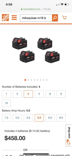 4 Milwaukee 5.0 batteries + charger for Sale in San Leandro, CA