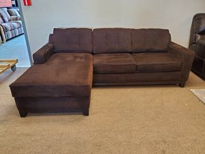 Brown Mid Century Modern Sectional Couch with Reversible Chaise for Sale in Denver, CO
