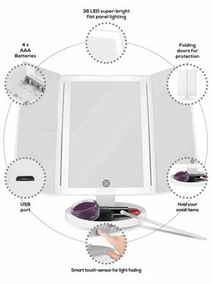 Backlit Makeup Vanity Mirror 36 LED Lights Touch-Screen Light Control, Tri-Fold 1/2/3X Magnification, Portable High-Definition Clarity Cosmetic Light for Sale in Revere, MA
