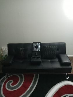 Sleek Black Leather Futon for Sale in Columbus,  OH
