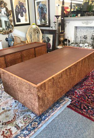 Milo Baughman Burlwood Executive Desk (2 pieces) for Sale in Bainbridge Island, WA
