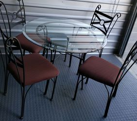 Glass Dining Table Set seats are mocha color very clean for Sale in Olympia,  WA