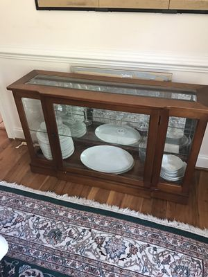 Glass dining room buffet/server with light for Sale in Rockville, MD