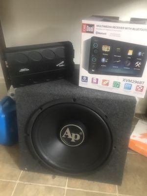 "15"" Audio-pro Subwoofer , 1000 watt Audio-pro Amp && Multimedia Bluetooth Reciever for Sale in Kenosha, WI"