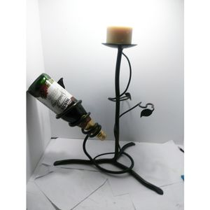 Modern Black Heavy Wrought Iron Wine Bottle Holder & Pillar Candle Holder Decor for Sale in East St. Louis, IL