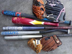 (5) Baseball Bats and (4) Gloves for Sale in Phoenix, AZ