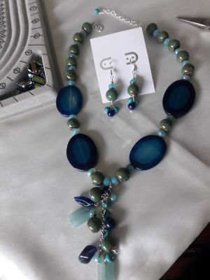 Handmade necklace and earrings set, Sami Precious Beads and Sterling silver earrings for Sale in Decatur, GA