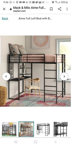 Metal full size loft bed with desk below for Sale in Clarksburg, MD