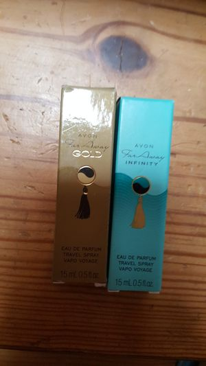 2 small size avon perfume far away gold and far away infinity for Sale in Staten Island, NY