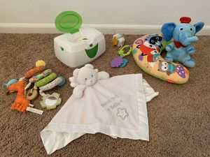 Baby items - all in like new condition - toys - wipe warmer - baby head rest with music box for Sale in Gilbert, AZ