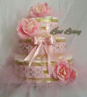 Baby Girl Diaper Cake, Baby Shower, Welcome Home Gift for Sale in Montgomery, AL