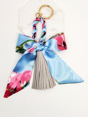 Flower print scarf bag charm with a gray tassel for Sale in Baldwin Park, CA