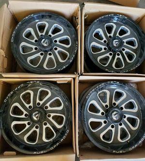 8x180 bolt pattern Fuel Flow Wheels 20x9 Black Milled Rims for Sale in Corona, CA