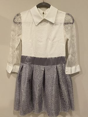 Grey/white sequin satin lace collar formal dress for Sale in Aspen Hill, MD
