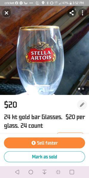 24kt gold rim bar glasses collectable 24 count for Sale in Salt Lake City, UT