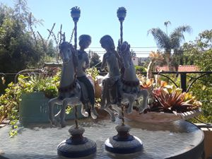 Pair of Lladro carousel horses boy and girl for Sale in Hollywood, CA