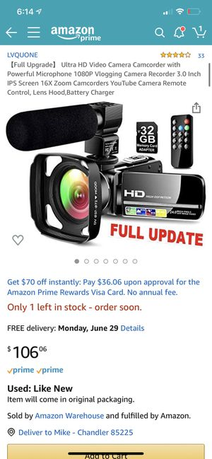 Hd video camera camcorder for Sale in Chandler, AZ