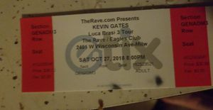 Kevin gates Lucia brasi 3 tour Oct 27 for Sale in Menasha, WI