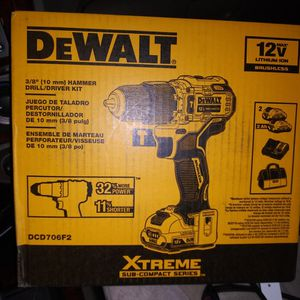 "DEWALT DCD706F2 XTREME 12V MAX BRUSHLESS 3/8"" CORDLESS HAMMER DRILL KIT Brand New for Sale in Glendale, AZ"