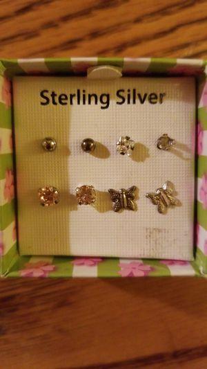 4 pairs of Sterling Silver Earrings for Sale in Wichita, KS