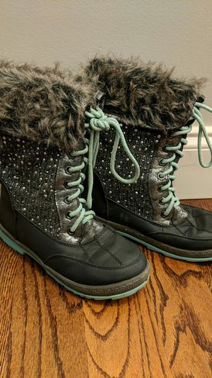 Justice girls fur trimmed boots aqua gray-brown for Sale in Taylors, SC