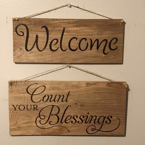Welcome Blessings Hand Burned Wood Sign Bundle for Sale in Surveyor, WV