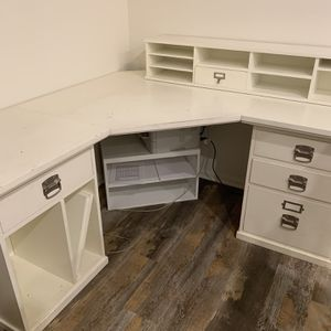 Pottery Corner Desk Office Desk With Top Shelf Storage for Sale in San Diego, CA