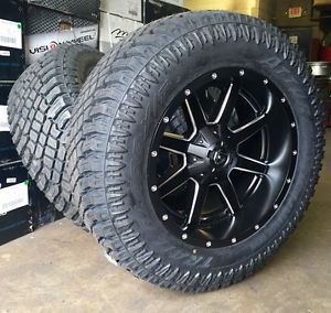 """Fuel Maverick D538 20x10 Wheels 5x127 Black Milled -12offset Jeep (Set of 4) with 35"""" AT Tires for Sale in Tampa, FL"""