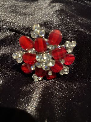 Red rhinestone/rhinestone adjustable large style ring $15 for Sale in Fresno, CA