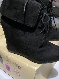 Women's Black Suede Wedge Booties for Sale in Visalia,  CA
