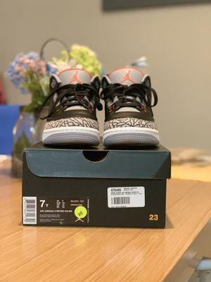 "Nike Air Jordan 3 Retro ""Black Cement"" Size 7y for Sale in Miramar, FL"