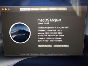 "MacBook Pro 15"" 2015 with apple Care warranty for Sale in Costa Mesa, CA"
