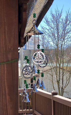 Chrome Plated Brass Celtic Knot Mystic Triquetra Wind Chime Sun Catcher Mobile for Sale in Nashville, TN