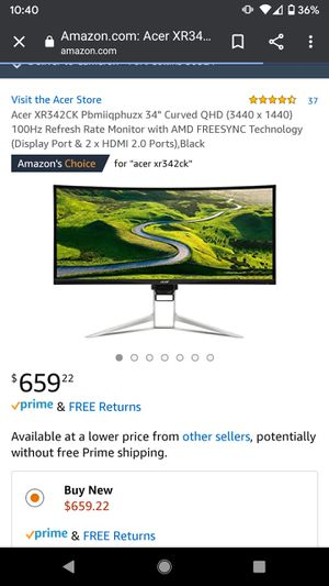 "Brand new 34"" curved 1440p gaming monitor! Amazing specs! Free sync! for Sale in Centennial, CO"