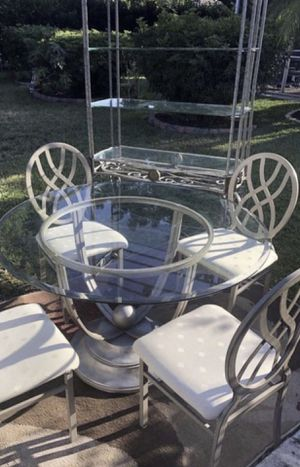 BEAUTIFUL IRON DINING ROOM SET TABLE WITH 4 CHAIRS AND A HUTCH EXCELLENT CONDITION for Sale in Fort Myers, FL