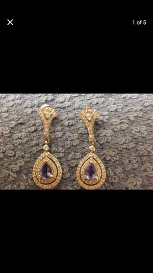 TANZANITE yellow gold and diamond chandelier earrings hi and quality for Sale in Las Vegas, NV