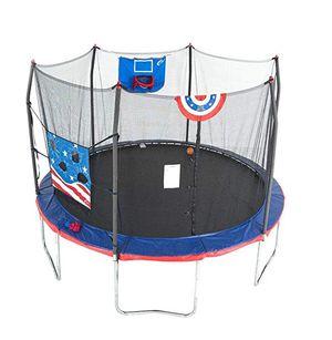 Skywalker Trampolines Stars & Stripes Jump N' Dunk 12' Stars & Stripes Jump N' Dunk Trampoline with Safety Enclosure & Basketball Hoop for Sale in Houston, TX