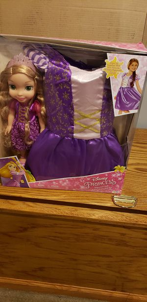 Disney princess Rapunzel doll and girl dress gift set for Sale in Dearborn, MI